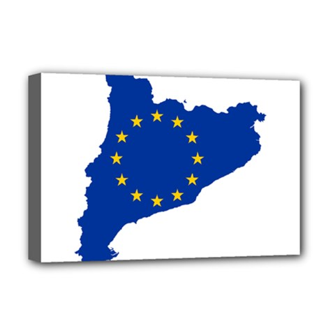 Catalonia European Union Flag Map  Deluxe Canvas 18  x 12