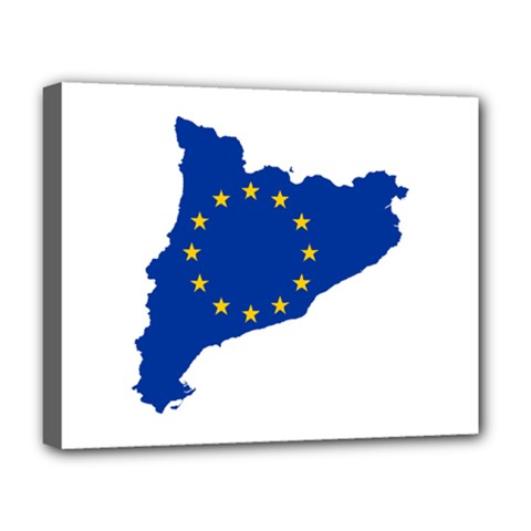 Catalonia European Union Flag Map  Deluxe Canvas 20  x 16