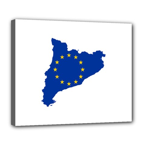 Catalonia European Union Flag Map  Deluxe Canvas 24  x 20