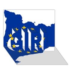 Catalonia European Union Flag Map  GIRL 3D Greeting Card (7x5)