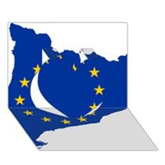Catalonia European Union Flag Map  Heart 3D Greeting Card (7x5)