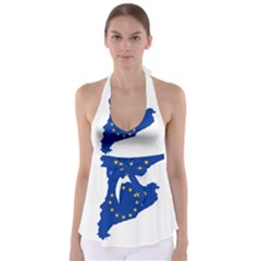 Catalonia European Union Flag Map  Babydoll Tankini Top