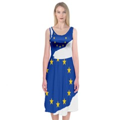 Catalonia European Union Flag Map  Midi Sleeveless Dress
