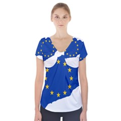 Catalonia European Union Flag Map  Short Sleeve Front Detail Top