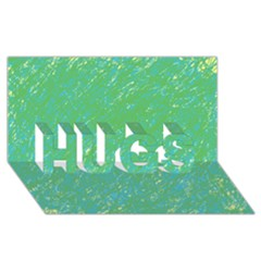 Green pattern HUGS 3D Greeting Card (8x4)