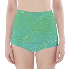 Green pattern High-Waisted Bikini Bottoms