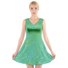 Green pattern V-Neck Sleeveless Skater Dress