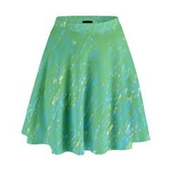 Green Pattern High Waist Skirt