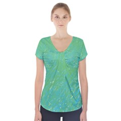 Green Pattern Short Sleeve Front Detail Top
