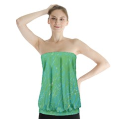 Green Pattern Strapless Top