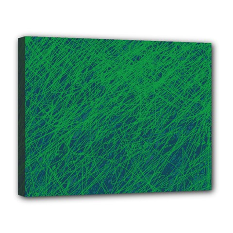 Deep green pattern Canvas 14  x 11