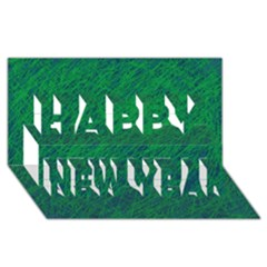 Deep green pattern Happy New Year 3D Greeting Card (8x4)
