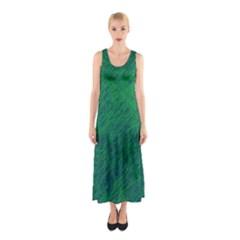 Deep green pattern Sleeveless Maxi Dress