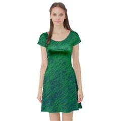 Deep green pattern Short Sleeve Skater Dress