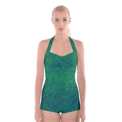 Deep Green Pattern Boyleg Halter Swimsuit