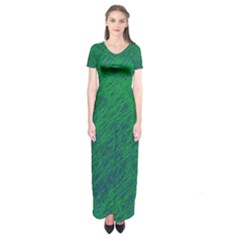Deep green pattern Short Sleeve Maxi Dress