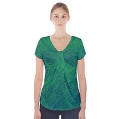 Deep green pattern Short Sleeve Front Detail Top