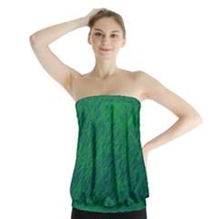 Deep green pattern Strapless Top