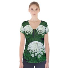 Beetle And Flower Short Sleeve Front Detail Top