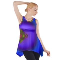 Into The Blue Fractal Side Drop Tank Tunic