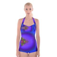 Into The Blue Fractal Boyleg Halter Swimsuit