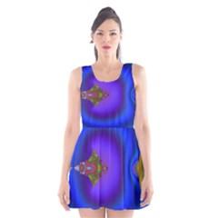 Into The Blue Fractal Scoop Neck Skater Dress