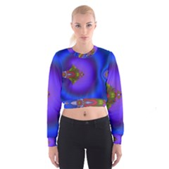 Into The Blue Fractal Women s Cropped Sweatshirt