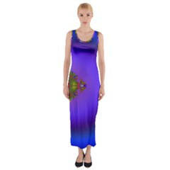Into The Blue Fractal Fitted Maxi Dress