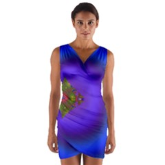 Into The Blue Fractal Wrap Front Bodycon Dress