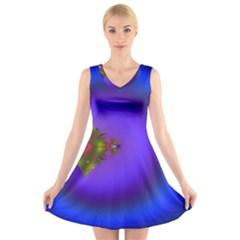 Into The Blue Fractal V-Neck Sleeveless Skater Dress