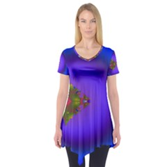 Into The Blue Fractal Short Sleeve Tunic