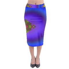 Into The Blue Fractal Midi Pencil Skirt