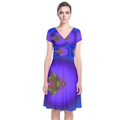 Into The Blue Fractal Short Sleeve Front Wrap Dress