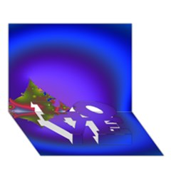 Into The Blue Fractal Love Bottom 3d Greeting Card (7x5)
