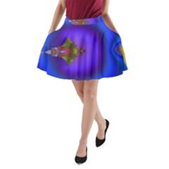Into The Blue Fractal A Line Pocket Skirt