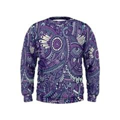 Purple Hippie Flowers Pattern, Zz0102, Kids  Sweatshirt