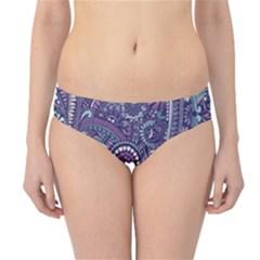 Purple Hippie Flowers Pattern, Zz0102, Hipster Bikini Bottoms