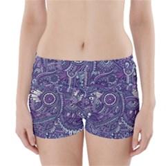 Purple Hippie Flowers Pattern, zz0102, Boyleg Bikini Wrap Bottoms