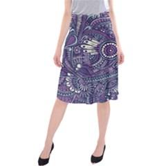 Purple Hippie Flowers Pattern, zz0102, Midi Beach Skirt
