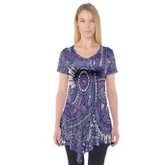 Purple Hippie Flowers Pattern, Zz0102, Short Sleeve Tunic