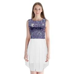 Purple Hippie Flowers Pattern, zz0102, Sleeveless Chiffon Dress