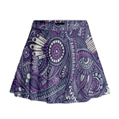 Purple Hippie Flowers Pattern, Zz0102, Mini Flare Skirt