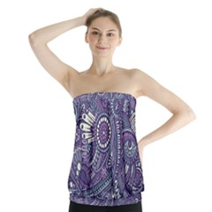 Purple Hippie Flowers Pattern, zz0102, Strapless Top