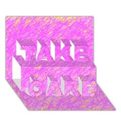 Pink pattern TAKE CARE 3D Greeting Card (7x5)