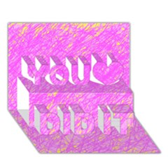 Pink pattern You Did It 3D Greeting Card (7x5)