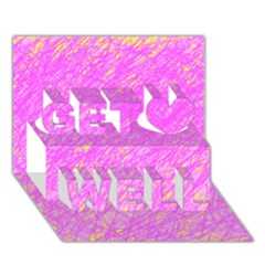 Pink pattern Get Well 3D Greeting Card (7x5)