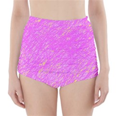 Pink Pattern High Waisted Bikini Bottoms