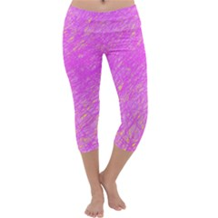 Pink Pattern Capri Yoga Leggings