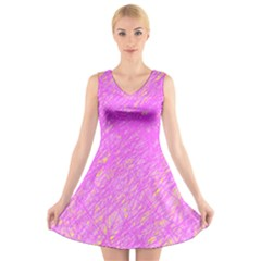 Pink pattern V-Neck Sleeveless Skater Dress