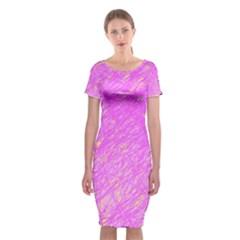 Pink Pattern Classic Short Sleeve Midi Dress